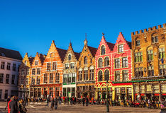 BRUGGE, BELGIUM - JANUARY 17, 2016: Christmas Grote Markt square in the beautiful medieval city Brugge Royalty Free Stock Photo