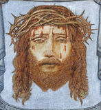 BRUGGE, BELGIUM - JUNE 13, 2014: The head of tortured Jesus Christ by unknown painter in st. Giles church Stock Photography
