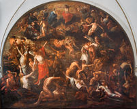 BRUGGE, BELGIUM - JUNE 13, 2014: The Last judgment fresco in The Annakerk or Annes church Royalty Free Stock Photo