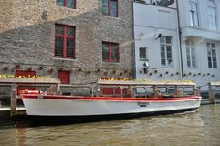 Brugge boat. Boat in brugge for visit all canal Royalty Free Stock Images