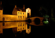 Brugge bridge and building. Medieval bridge and building in brugge at nigth Royalty Free Stock Photography