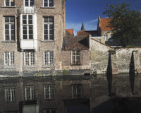 Brugge Bruges Belgium medieval buildings  canal made of brick an Royalty Free Stock Photography