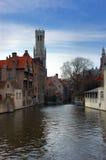 Brugge, Brugge, het kanaal. Stock Foto