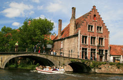 Brugge, Burges Canal and Historic Homes Stock Images