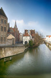 Brugge canal. Brugges is a good destination for explore architecture of this city and try all types of beer Royalty Free Stock Photography