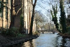 Brugge canal. S is beautifull  place for discovered this incredible architecyure of this city Royalty Free Stock Photo