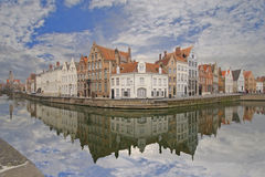 Brugge Canal Houses. Old Houses reflected in a canal in Brugge, Belgium Royalty Free Stock Images