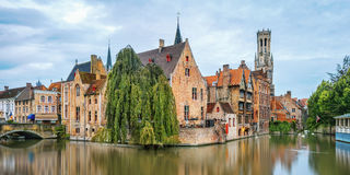Brugge canals at sunrise Stock Photography