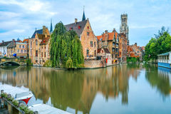 Brugge canals at sunrise Royalty Free Stock Images