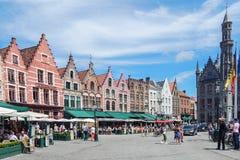 Brugge central fyrkant Royaltyfria Bilder