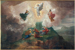 Brugge - de Transfiguratie van Lord door D Nollet (1694) in st Jacobs kerk (Jakobskerk) Royalty-vrije Stock Foto's