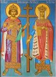 Brugge - Fresko van st Constantine en St.Helena in vestibule van st Constanstine en de kerk van Helena orthodx (2007 - 2008) Stock Fotografie