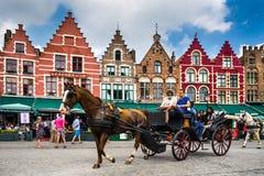 Brugge, Grote Markt, België Stock Foto's