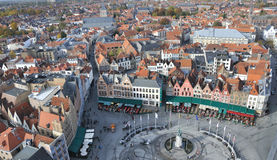 Brugge - Grote Markt birds eye view. Birds eye view of the main square Brugge (Belgium), taken from the city tower Royalty Free Stock Image