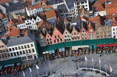 Brugge - Grote Markt birds eye view. Birds eye view of the main square Brugge (Belgium), taken from the city tower Stock Photos