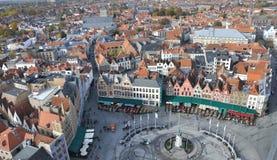 Brugge, Grote Markt ptaków oka widok - Obraz Royalty Free