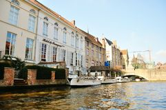 Brugge hotel. Hotel in Brugge on the canal Stock Photos