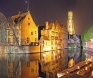 Brugge kanal, Belgien Arkivfoto