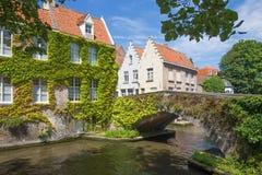 Brugge - kijk aan kanaal en oude brug in de klimop van Steen Wersdijk-straat Royalty-vrije Stock Afbeeldingen