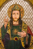 Brugge - Needelwork van Jesus Christ-hart op het oude katholieke gewaad in St Jacques Church in Coudenberg Royalty-vrije Stock Foto's