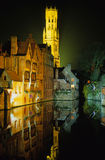 Brugge in the night. The belfry of Brugge in the night Royalty Free Stock Photos