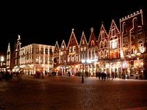 Brugge nocą Obrazy Royalty Free