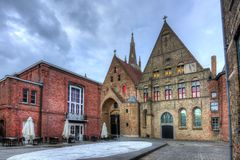 Brugge old streets, Belgium stock photo