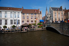 Brugge. Sightseeing boats pier Royalty Free Stock Images