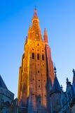 Brugge, spits van Kerk Onze Dame, Vlaanderen royalty-vrije stock foto's