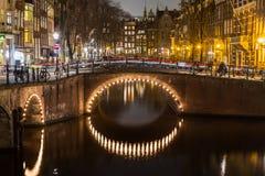 Bruggen bij de kanalenintersectio van Leidsegracht en Keizersgracht- Royalty-vrije Stock Afbeeldingen