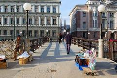 Bruggen over de rivier van Sarajevo, bosnia Royalty-vrije Stock Foto's