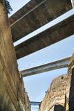 Bruggen van het Kanaal van Corinth in Griekenland Stock Afbeeldingen