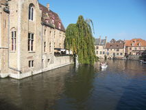 Brugges, Belgium. Tourists in canal boats in Bruges, Belgium Stock Image