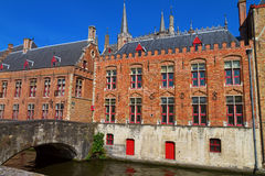 Brugges houses and bridge, Belgium Royalty Free Stock Image