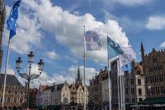 Brugges Markt Belgien Arkivbild