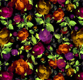 Brught floral Watercolor oil painting textured seamless background. Roses on a dark ground seamless wallpaper Exploding painterly textured abstract floral Stock Images
