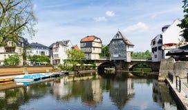 Brughuis in Bad Kreuznach in Rijnland-Palatinaat Duitsland stock foto's