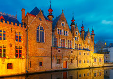 Brugse Vrije and the Green canal in Bruges at Stock Photo