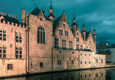 Brugse Vrije and the Green canal in Bruges stock image