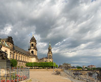 Bruhl Terrace in Dresden, Saxony, Germany. In Fall under dramatic sky. This image is toned Stock Images