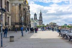 Bruhls terrassbalkong av Europa i Dresden, Tyskland arkivfoto