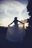 Bruid bij zonsondergang, in aard Royalty-vrije Stock Fotografie