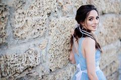 Bruid in blauwe kleding royalty-vrije stock foto