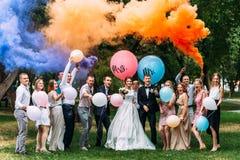 Bruid, bruidegom en gasten in openlucht royalty-vrije stock foto's