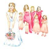 Bruid die een boeket van bloemen werpen aan meisjes Royalty-vrije Stock Afbeeldingen