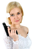 Bruid die het kanon houdt Royalty-vrije Stock Foto