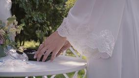 Bruid die juwelen kiezen stock footage