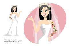 Bruid die met tatoegering trouwring bekijken Royalty-vrije Stock Foto