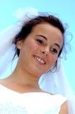 Bruid die neer kijkt Royalty-vrije Stock Foto