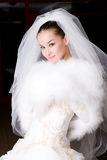Bruid in een bontkaap Stock Afbeelding